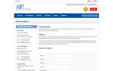Screenshot of Contact Page asiainjury.org - Asia Injury Prevention Foundation (AIP Foundation)Contact Us   Asia Injury Prevention Foundation (AIP Foundation) - captured Oct. 4, 2014