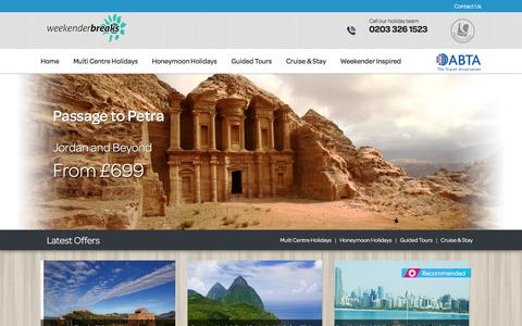 Screenshot of Home Page weekender-breaks.co.uk - Multi Centre Holidays, Multi Destination Holidays, Twin Centre Holidays, USA, Caribbean, Egypt, India, Maldives - Viva Holidays - Weekender Breaks - captured Feb. 21, 2016