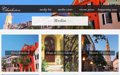 Screenshot of Press Page charlestoncvb.com - Charleston, SC Media Information For Travel Writers & Press - captured Sept. 23, 2018