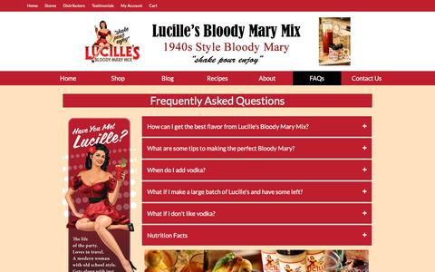 Screenshot of FAQ Page lucillesbloodymarymix.com - FAQs - Lucille's Bloody Mary Mix - captured July 23, 2018