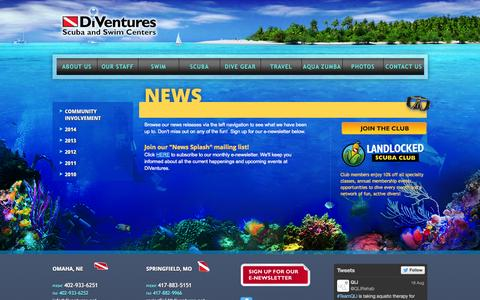 Screenshot of Press Page diventures.net - News | DiVentures Scuba & Swim Centers | Springfield, Missouri & Omaha, Nebraska - captured Sept. 30, 2014