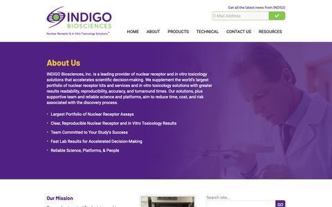Screenshot of About Page indigobiosciences.com - About - INDIGO Biosciences - captured Dec. 17, 2018