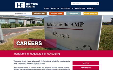 Screenshot of Jobs Page harworthestates.co.uk - Harworth Estates | Transforming, Regenerating, Revitalising - captured Sept. 29, 2014
