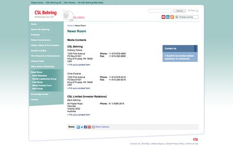 Screenshot of Press Page cslbehring.com - CSL Behring: News Room, Media Contact - captured Sept. 19, 2014