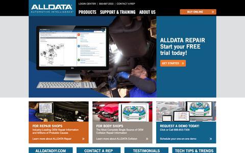 Screenshot of Home Page alldata.com - ALLDATA - OEM Repair Information for Professionals - captured Aug. 4, 2019