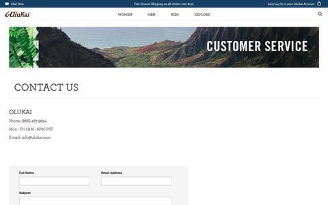 Screenshot of Contact Page olukai.com - Contact Us - captured Sept. 24, 2018