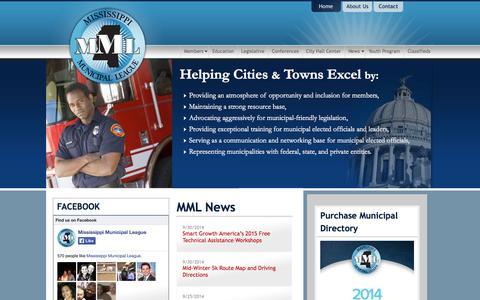 Screenshot of Home Page mmlonline.com - Mississippi Municipal League - captured Oct. 7, 2014