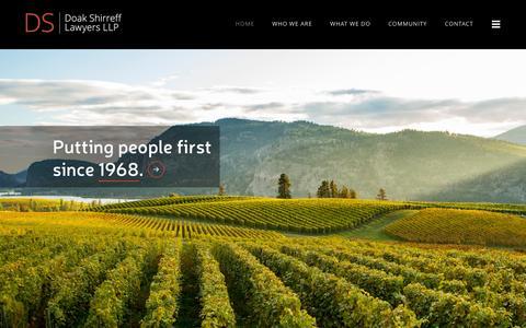 Screenshot of Home Page doakshirreff.com - Doak Shirreff Lawyers LLP - Kelowna Law Firm - captured Feb. 9, 2016