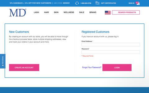 Screenshot of Login Page md-factor.com - Customer Login - captured July 10, 2017