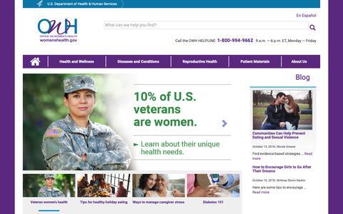 Screenshot of Home Page womenshealth.gov - Office on Women's Health | womenshealth.gov - captured Nov. 7, 2018