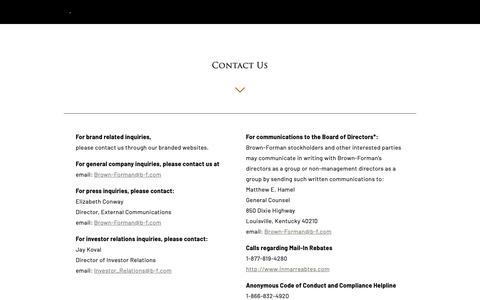 Screenshot of Contact Page brown-forman.com - Contact - Brown-Forman - captured June 12, 2019
