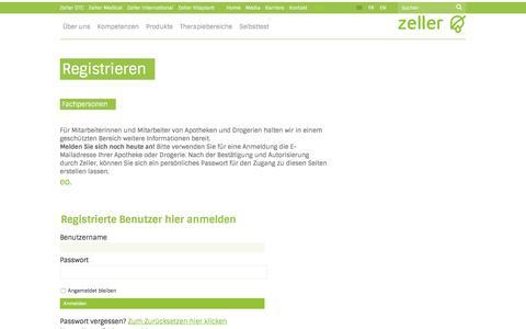 Screenshot of Login Page zellerag.ch captured Nov. 28, 2016