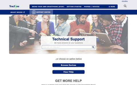 Screenshot of FAQ Page tracfone.com - Technical Support - TracFone Wireless - captured Dec. 11, 2018