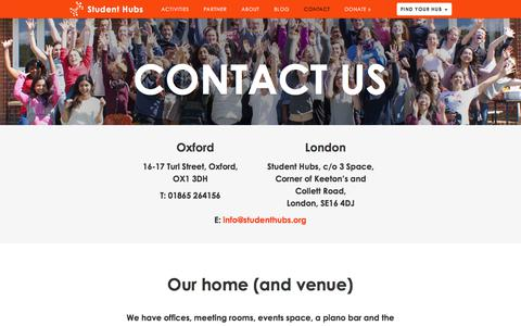 Screenshot of Contact Page studenthubs.org - Contact |  Student Hubs - captured Nov. 10, 2017