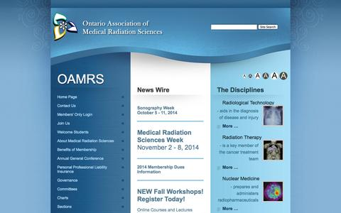 Screenshot of Home Page oamrs.org - OAMRS - Homepage - captured Oct. 7, 2014