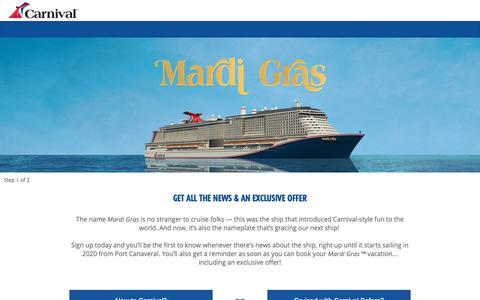 Screenshot of Signup Page carnival.com - Mardi Gras | Carnival Cruise Line - captured Dec. 7, 2018