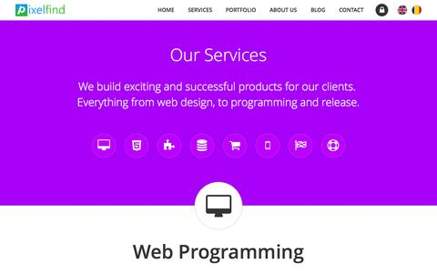 Screenshot of Services Page pixelfind.net - Pixelfind Services | Responsive Web Design, E-commerce, PHP - captured July 21, 2015
