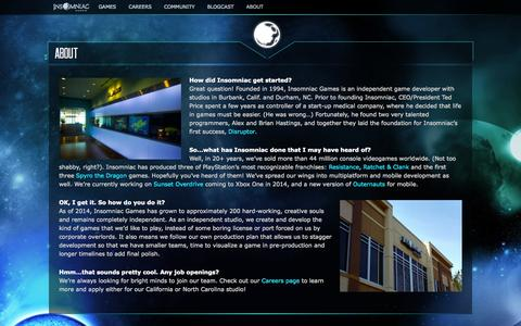 Screenshot of About Page insomniacgames.com - About | Insomniac Games - captured Sept. 19, 2014