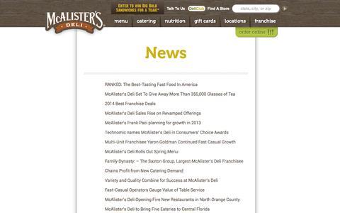 Screenshot of Press Page mcalistersdeli.com - News | McAlister's Deli - captured Oct. 27, 2014