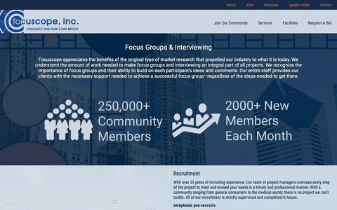 Screenshot of Services Page focuscope.com - Focus Groups & Interviewing | Focuscope - captured Nov. 6, 2018