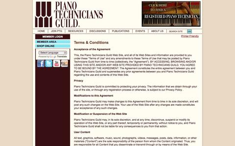 Screenshot of Terms Page ptg.org - Terms & Conditions - captured Sept. 19, 2014