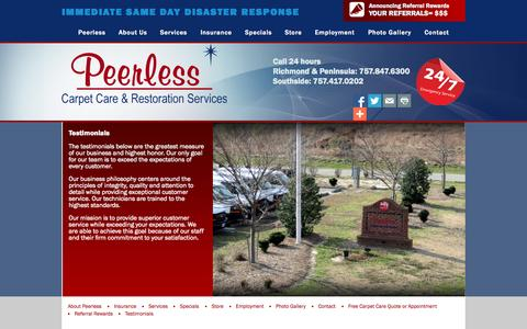 Screenshot of Testimonials Page peerlessva.com - Testimonials | Fire and Water Restoration, Carpet Cleaning, Mold Remediation, Construction in Greater Hampton Roads| Peerless Carpet Care & Restoration - captured Sept. 29, 2015
