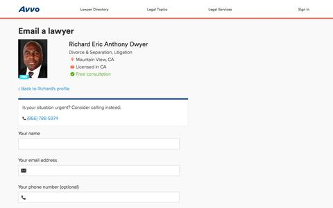 Screenshot of Contact Page avvo.com - Send email to Richard Eric Anthony Dwyer - Avvo.com - captured Jan. 26, 2016