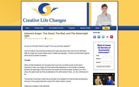Screenshot of Blog creativelifechanges.com - Blog | Speaker and Coach for Introvert Confidence - captured Sept. 30, 2014