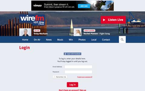 Screenshot of Login Page wirefm.com - Login | Club | Club - Wire FM - captured Jan. 11, 2016