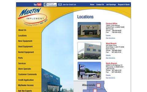 Screenshot of Locations Page martinimplement.com - Equipment Dealer Locations - Orland Park | South Elgin | Wauconda | Illinois - captured Dec. 7, 2018