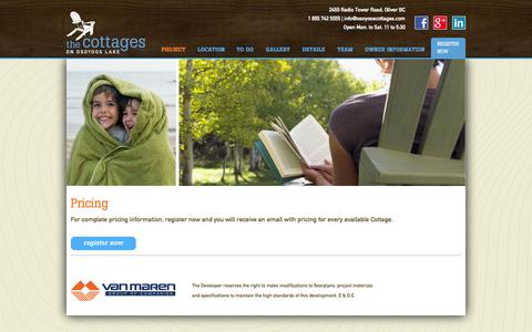 Screenshot of Pricing Page osoyooscottages.com - Pricing - Lakeside Cottages, Okanagan Valley real estate - captured Oct. 7, 2014