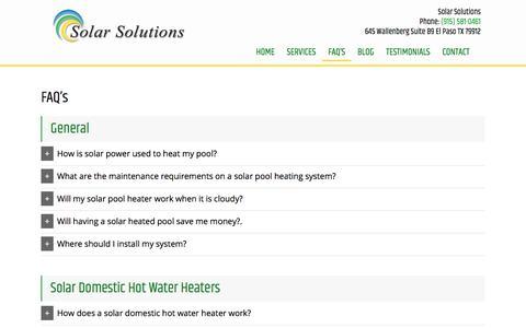 Screenshot of FAQ Page solarsolutions-texas.com - FAQ's | GR Solar Solutions Inc - captured Sept. 26, 2018