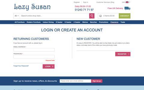 Screenshot of Login Page lazysusanfurniture.co.uk - Customer Login - captured Nov. 10, 2018