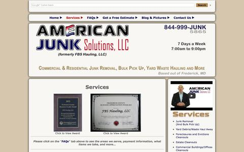 Screenshot of Services Page americanjunksolutions.com - We offer junk removal, yard debris/waste hauling and more to an area of 30 miles within Frederick MD. - captured Oct. 4, 2014