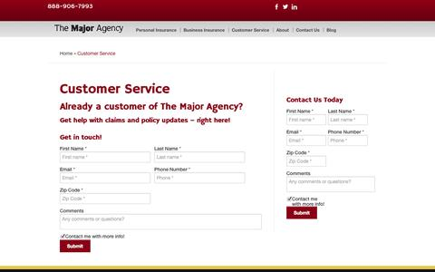 Screenshot of Support Page majorhill.com - Customer Service | The Major Agency - captured Oct. 4, 2014