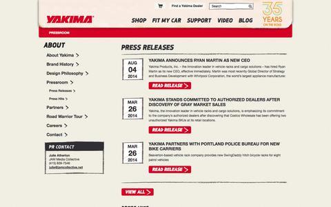 Screenshot of Press Page yakima.com - Press Releases | Yakima - captured Sept. 22, 2014