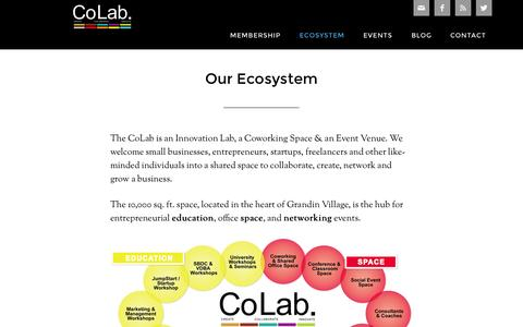 Screenshot of About Page grandincolab.com - Our Ecosystem - captured Sept. 30, 2014