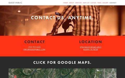 Screenshot of Contact Page guestpublic.com - Guest Public | Contact Us. - Guest Public - captured July 20, 2016