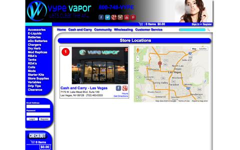 Screenshot of Locations Page vypevapor.com - Vype Vapor - Las Vegas Locations - captured Oct. 7, 2014