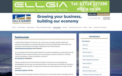 Screenshot of Testimonials Page hull-humber-chamber.co.uk - Hull and Humber Chamber of Commerce - captured Sept. 30, 2018