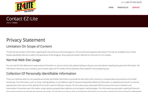 Screenshot of Privacy Page ezlite.com - EZ-Lite Fire Starter | Camping, Barbeque, BBQ, Fireplace, Wood Fires Starters - captured July 9, 2018