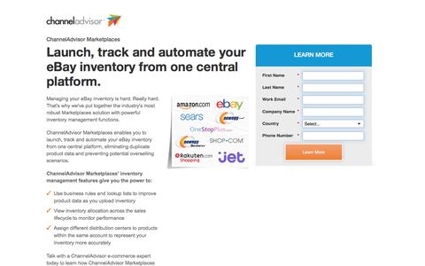 Screenshot of Landing Page channeladvisor.com - ChannelAdvisor Marketplaces | Launch, track and automate your eBay inventory - captured Sept. 8, 2016