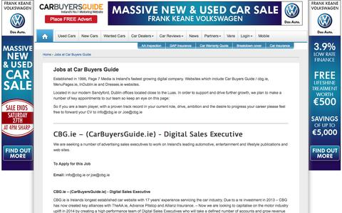 Screenshot of Jobs Page cbg.ie - Car Buyers Guide - Jobs - captured Sept. 19, 2014
