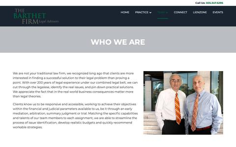Screenshot of Team Page barthet.com - Who We Are - The Barthet Firm - captured Oct. 18, 2018