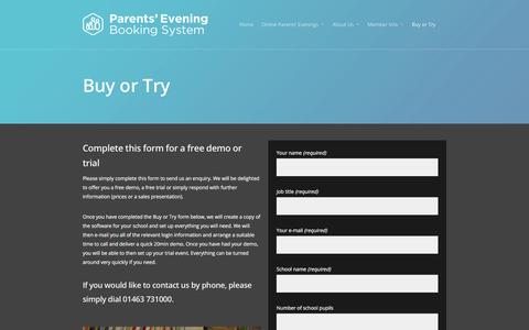 Screenshot of Trial Page parents-booking.com - Buy or Try - Parents' Evening Booking System - captured Jan. 25, 2016