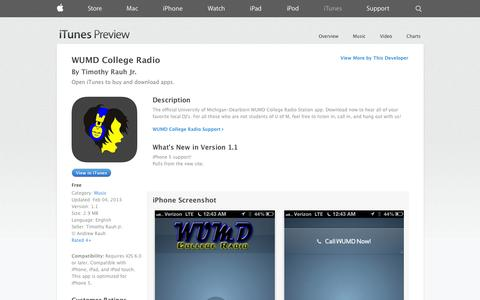Screenshot of iOS App Page apple.com - WUMD College Radio on the App Store on iTunes - captured Oct. 26, 2014
