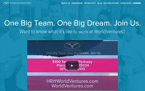 Screenshot of Jobs Page worldventures.com - WorldVentures Careers - Join Our Travel-Loving Team | WorldVentures - captured Sept. 28, 2016