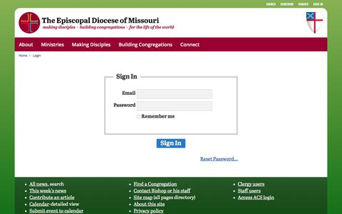 Screenshot of Login Page diocesemo.org - Login :: Episcopal Diocese of Missouri - captured Aug. 14, 2017