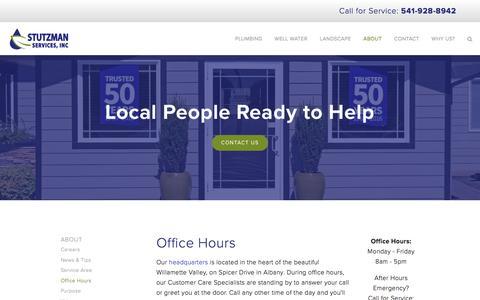 Screenshot of Hours Page stutzmanservices.com - Office Hours | Stutzman Services, Inc. - captured Dec. 18, 2016