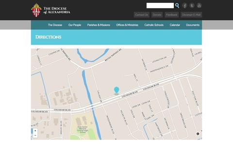 Screenshot of Contact Page Maps & Directions Page diocesealex.org - Directions | Diocese of Alexandria - captured Oct. 23, 2014